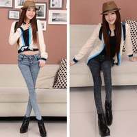 2013 Fashion Women's spring buttons pencil pants bag tight elastic pants jeans female