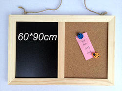 Free shipping Solid wood rustic can hang type blackboard cork board message board multifunctional writing board 60*90(China (Mainland))