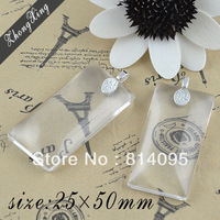 25*50mm Clear Rectangle domes magnifying glass cabs+Matching Shiny Silver Bails for Glass Tile Pendants Making