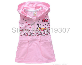 Free Shipping 2014 New Fashion Kids Girl Summer Cartoon Cat KT Hello Kitty Pink  Black Vest Sleevess 5 Pcs Cotton Dress with Hat