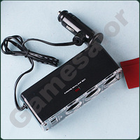 DC 12V 1 to 3 Car Cigarette Lighter Socket Power Adapter Splitter with 1 USB Port free shipping  #9622