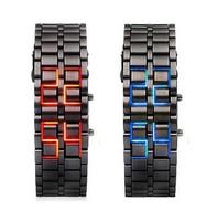 1PC Fashion Lava Iron Samurai Metal LED Gentle Men's Man Digital LED Casual Quartz Wrist Watches, Free & Drop Shipping
