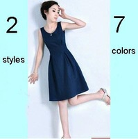Hot Sale On Alibaba Express 7 Colors Formal Office Dresses For Women Free Shipping Karen Vintage Dress 2014 Tank Linen Dress