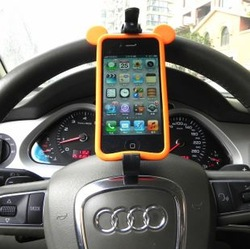 Car gps navigation steering wheel for iphone 5 mobile phone holder wp8 hands-free bluetooth(China (Mainland))
