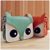 Free shipping Hot sale, ! Women's Fashion PU Leather Cute Cartoon Fox Head Shoulder Messenger Bag Handbags 7 colors