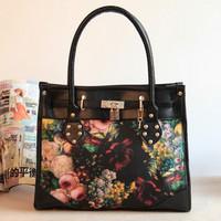 Free shipping Free shipping Hot sale 2013 vintage oil painting bags lock handbag flower print women's handbag