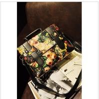 Hot sale Vintage oil painting bag flower vintage messenger bag briefcase bag 2013 women's fashion handbag cross-body