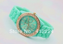 Free Shipping+Hot Sales Silicone GENEVA watch ladies women men students Crystal Wrist Jelly Watches,10pcs/Lot(China (Mainland))