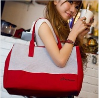 Stripe canvas shoulder bag large capacity brief handbag casual bag