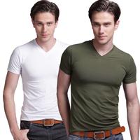 short-sleeve v-neck T-shirt Original Brand Men's Cotton T Shirt Clothing Short Sleeve T-Shirt Male Fashion Plain Free Shipping