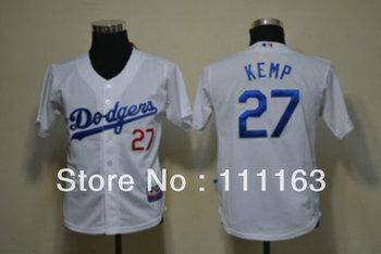 Kids Baseball Jerseys-Dodgers Matt Kemp  #27 Blue,White,Gray Coolbase Baseball Jersey size:S~XL+Mix Order