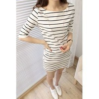 E 2013 women's preppy style casual stripe color block half sleeve slim hip a48 one-piece dress