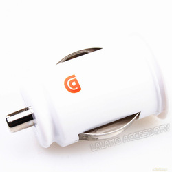 Wholesale1piece/lot Mini Bullet Dual USB 2-Port White Car Charger Adaptor For iPhone 4 4g iPod Touch&Digital Items5V-2.1A 720008(China (Mainland))