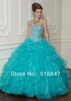 2013 New Fashion Blue Long Beaded Organza Sleeveless Ball Gown Party Prom Dresses Quinceanera Dresses Custom Size Free Shipping