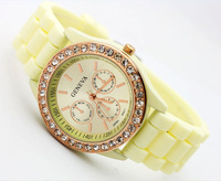 GENEVA PLATINUM SILICONE RUBBER JELLY WITH CRYSTALS BLING DESIGNER WATCH