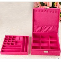 2014 new europe princess faux suede casket jewelry packaging large' size two tier storage box hotsale freeshipping