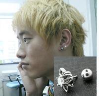 Fashion cute medical titanium handmade vintage inlaying men stud earring
