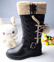 free shipping Children boots spherule vitality berber fleece thickening black child snow boots female boots child tall 27 - 37