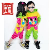 2013 spring and autumn 100% cotton children child male female unisex child cartoon sports casual clothing set