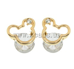 Free Shipping mickey mouse shape real gold plated rhinestone &amp; glass &amp; stainless steel post Zinc Alloy Stud Earrings for women(China (Mainland))