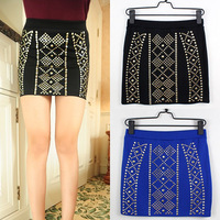 Free Shipping [ Wholesale & Retail ] Fashion Black Blue Solid Color Rivets Decorated Pencil Skirt Women's Skirt MYB275
