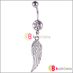 New Feather Crystal Navel Belly Button Barbell Ring Body Piercing Gift[30952|01|01](China (Mainland))