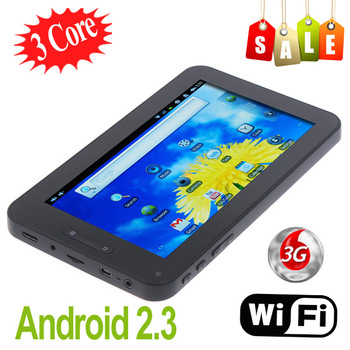 "Sale !!! 7"" Android 2.3 three-core 3 core Cortex A8 Capacitive screen Tablet PC 3G WiFi 800*480 Camera G-Sensor 7 inch MID"