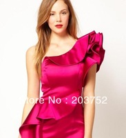 Fashion Women's 2013 Intellectuality Ellegant Ruffle Sexy One-shoulder Evening Dress Slim Dinner Formal Dress