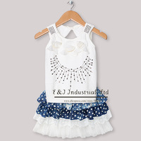 Children Summer Clothing Set 2 Pcs Girls White Cotton T Shirt With Bow And Lace Skirt For  Kids Girl ClothesCS30301-35^^EI