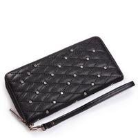 Free shipping !!New Genuine sheep Leather women's wallet, plaid rhinestone Fashion wallet,3 colours.