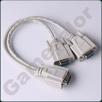 free shipping Y SPLITTER CABLE FOR SVGA VGA 1 PC to 2 MONITOR #9658