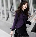 2013 spring cutout batwing shirt sweater air conditioning shirt cardigan women's crochet ruffle hem