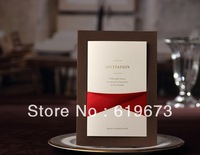 Chic Dark Chocolate Wedding Invitation (Set of 200) With Red Ribbon Wholesale Free Shipping