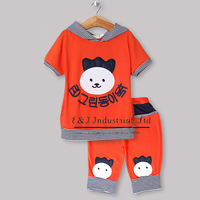 Hot Seller Boy Summer Clothing Set 2 Pcs Orange Baby Hoodies And Kids Lovly Pants Children Wear Free Shipping CS30301-45^^EI