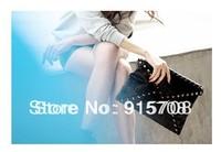 Free Shipping !  2014 cheap promotional skull rivet shoulder bag envelope clutch bag Messenger Bag
