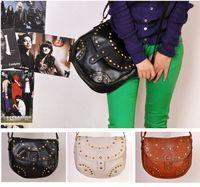 New arrival fashion punk rivet vintage formal one shoulder cross-body women's handbag