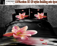 100% Cotton bedclothes black and white Quilt/Duvet cover sets queen king double bed 4pcs bedding set 3d printed bed sheet sets