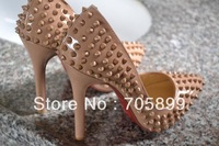 2013 Pigalle Spikes Dark Nude Patent Leather Red Bottom Pump High Heel studs spike wedding dress shoes 12CM heel