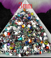 Free shipping 10000pcs Multiple facets Many colors mixed Resin 3mm Flat Back Rhinestones SS12 HS