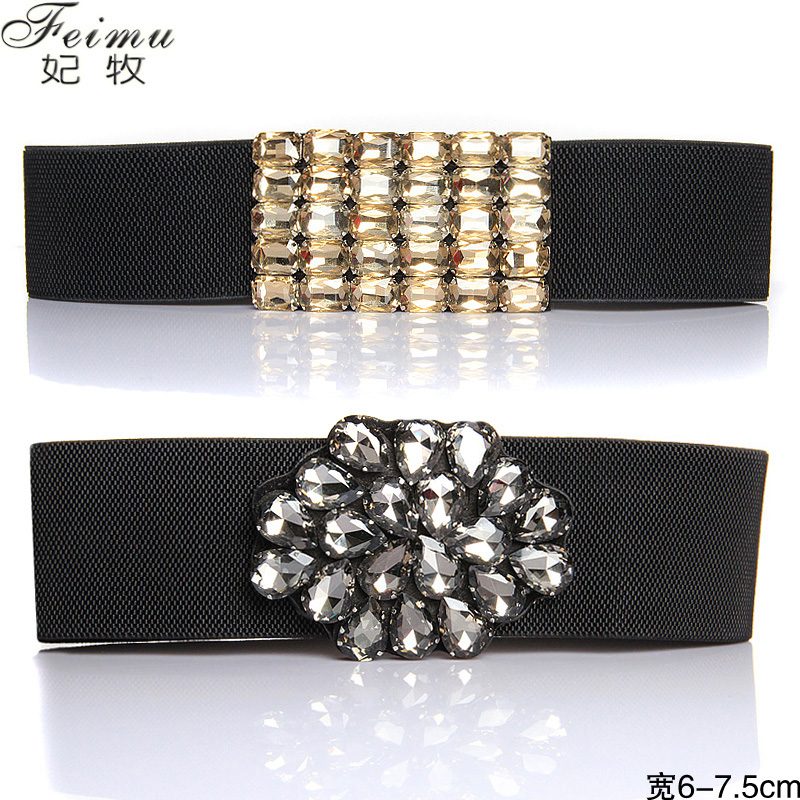 Luxury crystal rhinestone cummerbund broadened elastic waist belt Women cummerbund fashion down coat elastic body shaping(China (Mainland))