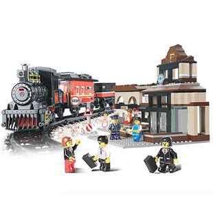 without original box M38-B0236 century railway station children's educational development blocks electric combination train toys