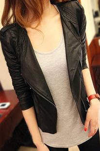 Free shipping/Drop shipping Black Vintage 2013 Hotsale Women PU Leather Mlitary Rivet Slim Fit Crew Neck Short Jacket
