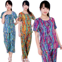 Free Shipping Cotton silk cotton silk sleepwear female short sleeve length pants set fashion casual at home