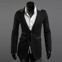 Fashion multi-pocket 2012 male slim buckle blazer suit jacket small