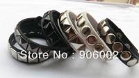 yh wholesale mixed 12pcs/lot Charm Punk Rock cow leather belt cowhide rivet spike Bracelet  Europe chain Wristband zhb29x