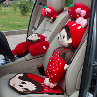 Free shipping MONCHHICHI red strawberry series three-dimensional doll car lumbar support headrest cushion pillow cartoon series