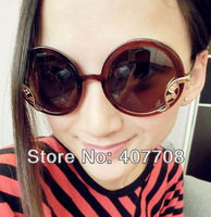 Free shipping! 2013 Newest lady round sunglasses with metal accessory summer vintage sun glasses 2015