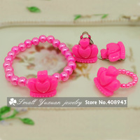 Free shipping 12Sets/lot Children jewelry sets best baby products/Lovely Acrylic Crown clip earrings+bracelet+rings TZ63258