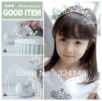 ree shipping 6pcs/lot shiny silver crystal charming children tiara nice head band Crown Princess headwear