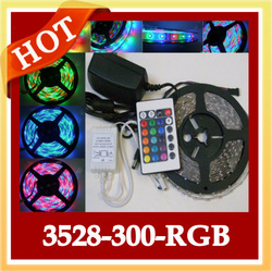 5M 3528 SMD RGB 300 LED Strip light Waterproof Flexible lighting+Power Supplier IR Remote Control(China (Mainland))